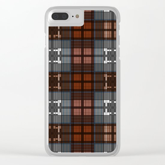 Dark black and blue plaid checkered Scandinavian design Clear iPhone Case
