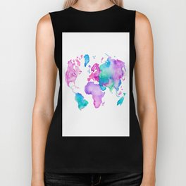 Modern world map globe bright watercolor paint Biker Tank