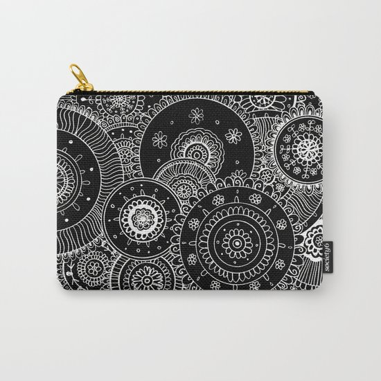 Lacy White Mandalas on Black Carry-All Pouch