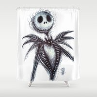 jack skellington Shower Curtains featuring Jack Skellington scribble by Patricia Pedroso