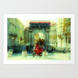 The Essence of Croatia - Red Motorbike in Pula Art Print