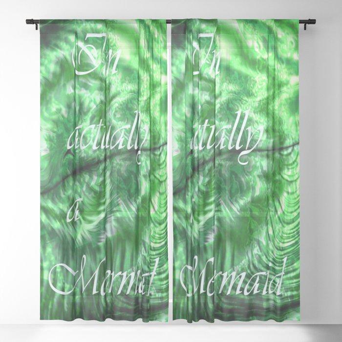 I´m Actually A Mermaid - Green Sheer Curtain