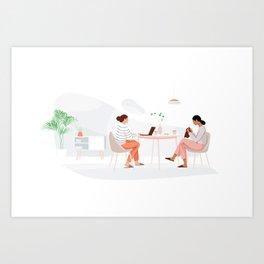 Knitting and browsing Art Print