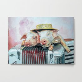 Accordion Accordion And Pigs Metal Print
