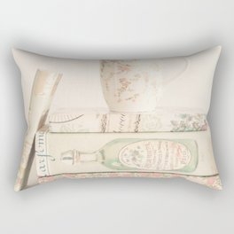 Soft Pastel Books and coffee, shabby chic Rectangular Pillow