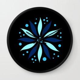 Elegant blue flower and dots pattern. Wall Clock