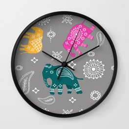 Mehndi elephants Wall Clock