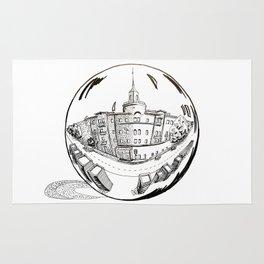 City in a glass ball . Art Rug