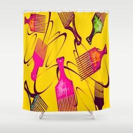 Afro Comb-Orange Shower Curtain