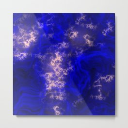 Midnight Blue Liquid Marble Pattern With Pastel Pink Metal Print