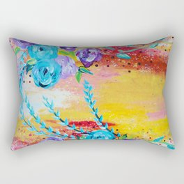 MORE IS MORE - Gorgeous Floral Abstract Acrylic Bouquet Colorful Ikat Roses Summer Flowers Painting Rectangular Pillow