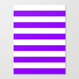Horizontal Stripes - White and Violet Canvas Print