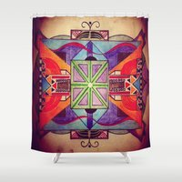mandala Shower Curtains featuring Mandala by Aaron Carberry