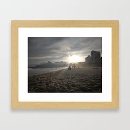 Sunset at Ipanemabeach Framed Art Print