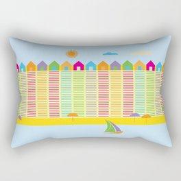 Beach cabins pattern stripes Rectangular Pillow