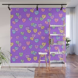 Feminist Valentine Candy Hearts in Purple, Single Life Wall Mural