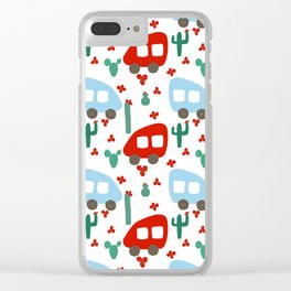 Camper Vans in Red and Blue with Green Cactus and Red Flowers Clear iPhone Case