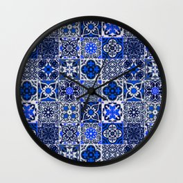 -A34- Blue Traditional Floral Moroccan Tiles. Wall Clock