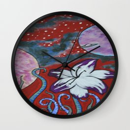 Lilie Invasion in Red S3 Wall Clock
