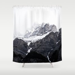 Moody snow capped Mountain Peaks - Nature Photography Shower Curtain