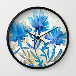 Wispy Lily Blue Wall Clock