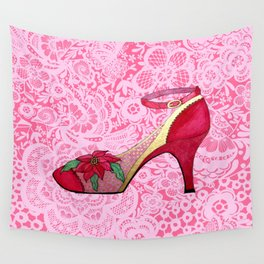 Red Shoes on Pink Lace with Poinsettia Wall Tapestry