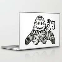 greg guillemin Laptop & iPad Skins featuring Greg the Ghost by Wealie