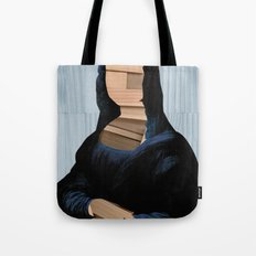 Mona Lisa - blue shining WoodCut Collage Tote Bag