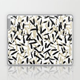 Black and White Feather Repeating Pattern Laptop & iPad Skin