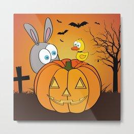 Halloween Rabbit and Duck Metal Print