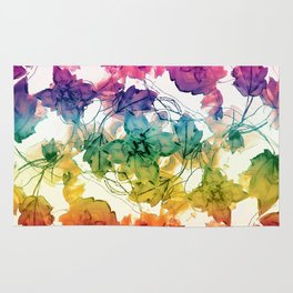 Multicolored Floral Swirls Decorative Design Rug