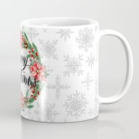 merry christmas Mugs featuring Merry Christmas by Julia Badeeva