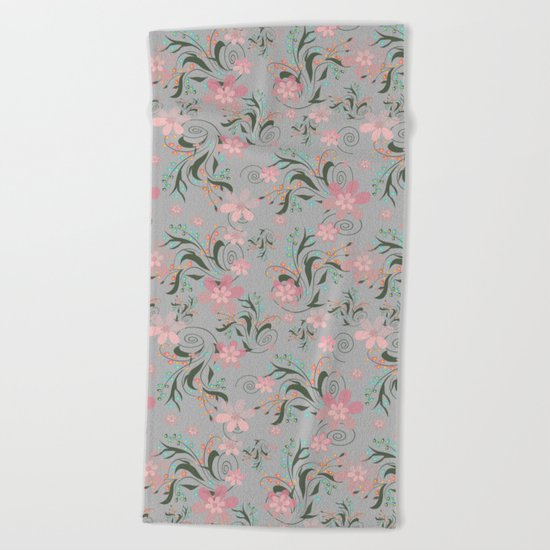 Retro . Pink flowers on grey background . Beach Towel