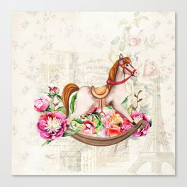Vintage Collage and Rocking Horse Canvas Print