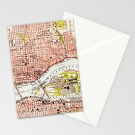 Vintage Map of Davenport Iowa (1953) Stationery Cards