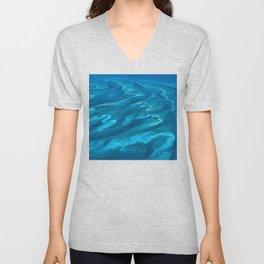 Dramatic Blue Ocean Waves Unisex V-Neck