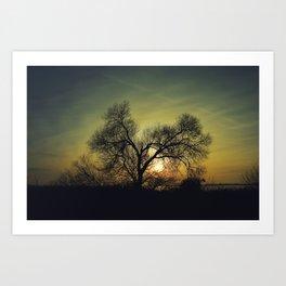 December Sun magical blue light Art Print