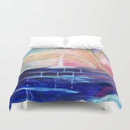 Flourescent Waterfall Painting. Waterfall, Abstract, Blue, Pink. Water. Jodilynpaintings. Duvet Cover