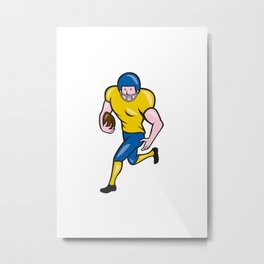 American Football Running Back Cartoon Metal Print