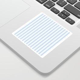 Mattress Ticking Wide Striped Pattern in Pale Blue and White Sticker
