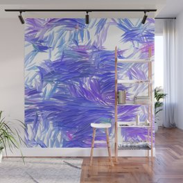 Blue Purple Brushstrokes Abstract Wall Mural