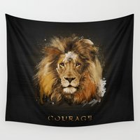courage Wall Tapestries featuring Courage of a Lion by Aron Art