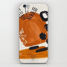 Fun Mid Century Modern Abstract Minimalist Vintage Brown Organic Shapes With Geometric Patterns iPhone Skin