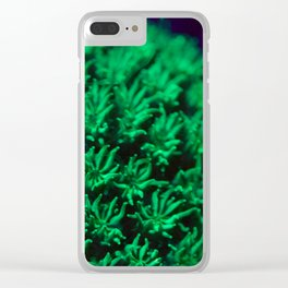 Fluorescent coral polyps reaching toward infinity Clear iPhone Case