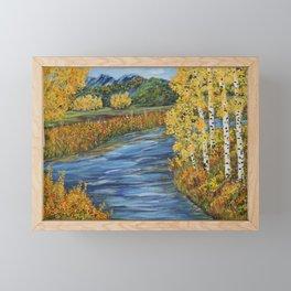 Autumn in the Mountains, Fall Decor, Aspen Birch Tree Painting Framed Mini Art Print