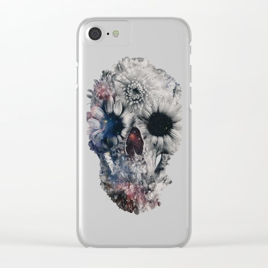Floral Skull 2 Clear iPhone Case