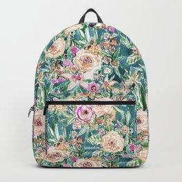 Teal MAUI MINDSET Colorful Tropical Floral Backpack