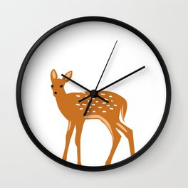 Baby Deer and Snow Wall Clock
