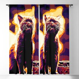 british shorthair cat ready to attack vector art late sunset Blackout Curtain