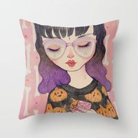 pumpkin Throw Pillows featuring Pumpkin by lOll3